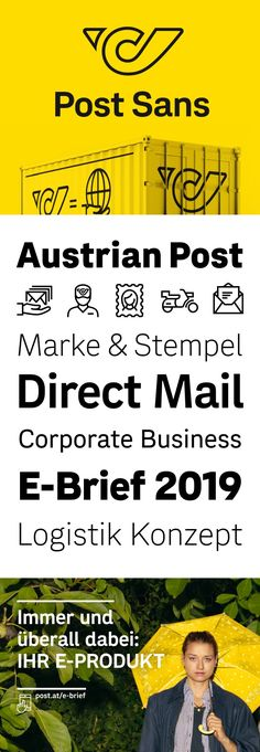 In the course of the rebranding of the Austrian Post, we had the pleasure to develop an exclusive Sans Serif family, as well as an extensive set of icons. Corporate, Sans Serif, Label Design, Fonts, Poster, Branding, Wellness, Letters, Marketing