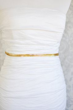 Gold Beaded Bridal Sash, Gold Bridal Belt, Gold Wedding Belt, Thin Bridal Sash, Simple, 1920's or 1930's Style, Also Available in Silver on Etsy, $52.00
