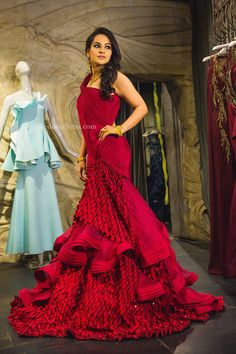 A gorgeous red off-the-shoulder lehenga with ruffled detailing for Bride-to-be Payal by Gaurav Gupta at WeddingSutra on Location. Indian Wedding Gowns, Indian Gowns Dresses, Indian Bridal Outfits, Indian Fashion Dresses, Indian Designer Outfits, Bridal Gowns, Designer Party Wear Dresses, Gowns Of Elegance, Western Dresses