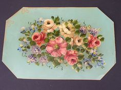 antique French tole painting of roses