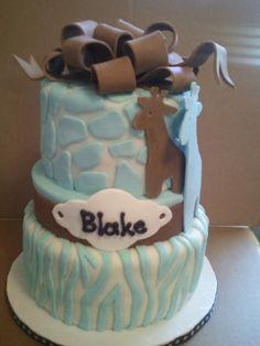 Blue/White Giraffe Baby shower cake