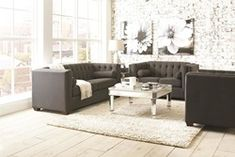 Cairns Tuxedo Living Room Set in Charcoal Coaster Fine Furniture, Log Furniture, Living Room Furniture, Living Room Decor, Furniture Design, 3 Piece Living Room Set, Living Room Sets, Charcoal Sofa, Sofa And Loveseat Set
