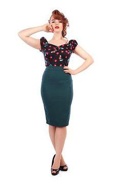 Collectif Polly Teal 1950's Pencil Skirt