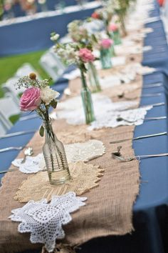 Rustic burlap teamed with delicate lace and small simple flower arrangements makes for a lovely vintage wedding Wedding Centerpieces, Wedding Table, Diy Wedding, Rustic Wedding, Wedding Flowers, Dream Wedding, Wedding Decorations, Wedding Day, Burlap Table Decorations