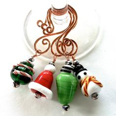 Wine Glass Charms Holiday Lampwork Bead and by TwistedTinkers, $25.00