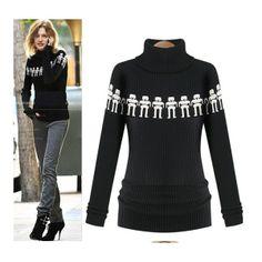 Black  Womens Turtleneck Long Sleeve Robot Printing Bodycon Tops Sweater B1925