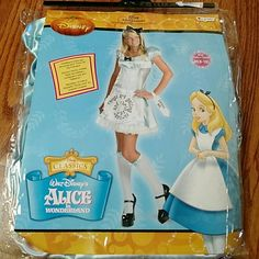"""Alice in Wonderland halloween costume ***just reduced**"""" Alice from Alice in Wonderland costume. Nwt. Includes dress w apron, knee high stockings, headband and """" drink me"""" wrist tag. Do not ask to try on as i do not want to open the packaging! I ship next day! No trades Dresses"""
