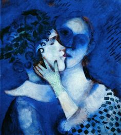 Marc Chagall  Blue Lovers  1914  Tempera on paper pasted on cardboard  49 x 44 cm  Private collection - artblart.com