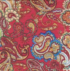 3 Red Paisley Paper Napkins for Decoupage Paisley by YWart on Etsy