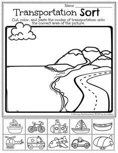 Transportation Sort Worksheet: Pre-k