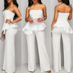 Evening Jumpsuits For Women White Jumpsuits And Rompers, Jumpsuits For Women, Long Jumpsuits, Evening Jumpsuits, Casual Outfits, Cute Outfits, Fashion Outfits, Wedding Pants, Look Star