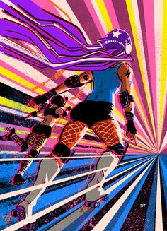 Roller derby by DiegoTripodi on DeviantArt Roller Disco, Roller Rink, Roller Skating, Roller Derby Skates, Roller Derby Girls, Track Roller, Hell On Wheels, Skate Art, Pixel Art