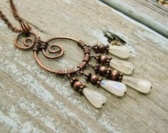 Moonstone and Antiqued Copper wire wrapped necklace