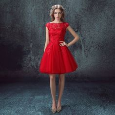 A-Line/Princess Bateau Knee-length Lace Tulle Prom Dress Red Lace Prom Dress, Red Homecoming Dresses, Prom Dresses 2016, Short Lace Dress, Lace Evening Dresses, Cheap Prom Dresses, Prom Party Dresses, Party Gowns, Evening Gowns