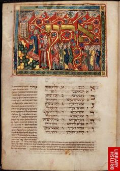 'Tripartite Mahzor', Germany, c. 1322. Historiated initial-word panel of the Receiving the Law with Moses stretching his hands for the tablets, and Aaron and the Israelites waiting at the foot of the mountain. Very cool collection here, courtesy of the British Library.