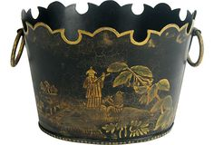 Chinoiserie Cachepot - Vintage- Hand-painted $45