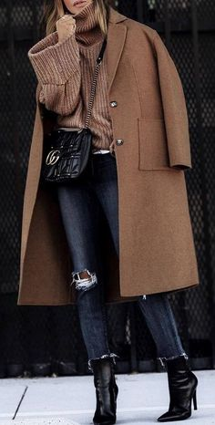 what to wear with a knit sweater : brown coat + bag + rips + heels