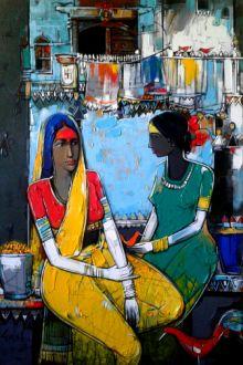 Blue acrylic Painting by Girish Adannavar on Canvas, Figurative based on theme Girish Addannavar Art Gallery. Art Painting, Indian Art Paintings, Indian Artwork, Figure Painting, Composition Painting, Painting, Art, Kalamkari Painting, Canvas Painting Diy