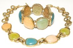 Vintage Signed Monet Necklace and Bracelet by VintageMeetModern,