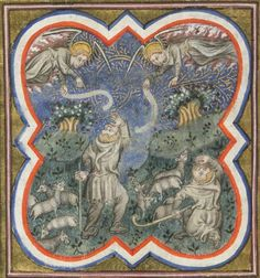 The Annunciation to the Shepherds, France (Paris), last quarter of the 14th century, from the 'Hours of Nicolas Rolin'