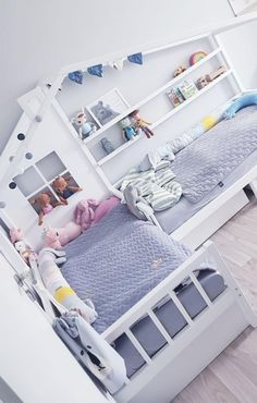 L-Shape nook double bed with reading sofa/sleeping bed and drawers, shelves, Montessori house bed - Kinderzimmer Boy And Girl Shared Room, Bed For Girls Room, Shared Rooms, Girls Bedroom, Boy Girl Room, Lego Bedroom, Minecraft Bedroom, Girl Rooms, Twin Girl Bedrooms