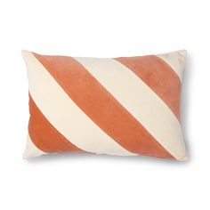 Soft Velvet Cushion in Peach and Cream Stripe Give your interior colour with this diagonal striped cushion in the colour peach/cream. The front of the cushion is made of cotton velvet and the back is peach and made of cotton. Striped Cushions, Printed Cushions, Velvet Cushions, House Doctor, Lumbar Pillow, Throw Pillows, Bold Stripes, Cotton Velvet, Cotton Linen