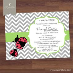 Edit for birthday party ---Baby Shower Invitation   Little Lady Bug by AFineTimeInvitations, $14.99