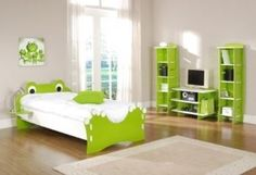 Children will jump for joy with this crazy frog bed in bold green and white colours