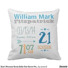 Boy's Nursery Room Baby Stat Arrow Pattern Throw Pillow