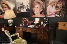 On display: The desk used by Princess Diana in Kensington Palace is displayed at the Royal...