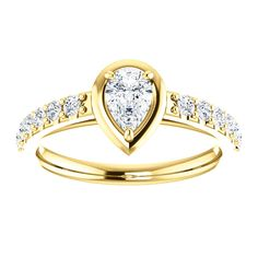 10kt Yellow Gold 6x4mm Center Pear Genuine Dimond and 12 Accent Round Diamonds Engagement Ring...(ST71636:613:P).! Price: $799.99