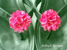 Shoe Clips  Pink Satin and Tulle Flower by AshleyKBowtique on Etsy, $6.95