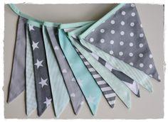 Boy Garland, Bunting Banner, Boy Nursery Decor, Photo Prop, Fabric Flags -mint and grey stars chevron strips