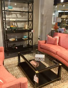 This coral and black combo is in the Sherrill showroom at Furnitureland South where black furniture was seen throughput the showroom