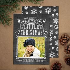 Photo Christmas Card, Hand Lettering Holiday Card (set of 25) - Vintage Chalkboard. $45.00, via Etsy.