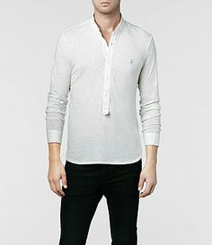 Mens Saints Long Sleeved Henley (Chalk Marl) | ALLSAINTS.com