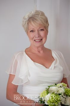 A real, older bride, and she looks fantastic. Just a hint of veiling. Over 50 Wedding Dress, Second Wedding Dresses, Informal Wedding Dresses, Cheap Wedding Dress, Bridal Dresses, Wedding Dresses For Older Women, Older Bride Dresses, Bride Gowns, Hairstyle For Chubby Face