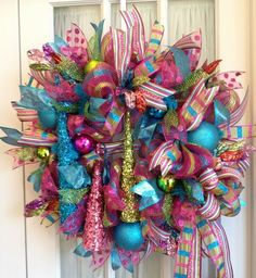 deco mesh christmas wreaths pink lime blue colorful christmas decoration ideas