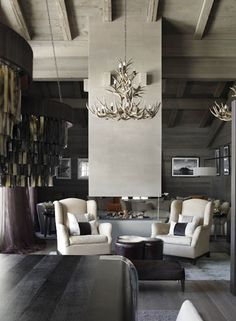 Interior design ideas for a luxury living room decor. On this living room you can see extraordinary furniture design pieces. Contemporary Interior Design, Home Interior Design, Interior Architecture, Sustainable Architecture, Chalet Interior, Dream House Interior, Luxury Interior, Kelly Hoppen Interiors, Modern Lodge