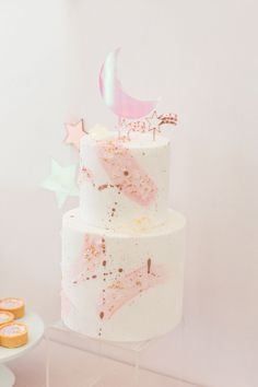 """birthday party decorations 325385141827058499 - Magical themed birthday party for kids with celestial and star theme! Invitation ideas for """"you are magic"""" party with cute dessert display and pink, purple and gold mini desserts Source by pirouettepaper Pink Birthday, 3rd Birthday Parties, 1st Birthday Girls, Paris Birthday, Birthday Cakes, Birthday Ideas, Magie Party, Mini Desserts, Moon Party"""