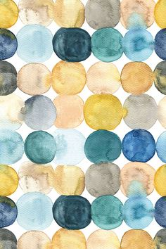 painted dots by marjolein_rooijmans - Hand painted watercolor design in muted vintage tones.  Blue, aqua, mustard and yellow watercolor circles.