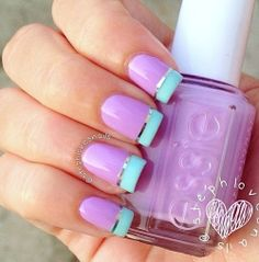 Pastal Purple and Turquoise Blue Manicure Nail Art Design
