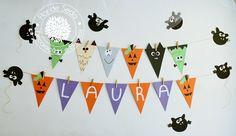 Festa Infantil Halloween - Painel de Bandeiras Mostros
