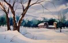 """Barn Series-Snow"" - Original Fine Art for Sale - © Kathy Los-Rathburn"