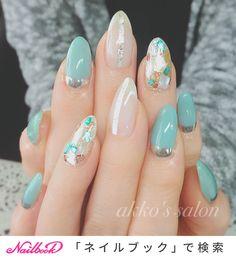 Cute Nail Art, Cute Nails, Pretty Nails, Fancy Nails, Nail Polish Designs, Nail Art Designs, Asian Nails, Japan Nail, Uñas Fashion
