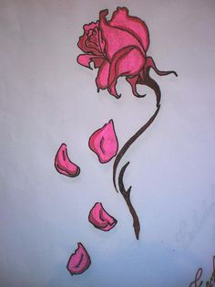 Fallen Petals Beauty and the Beast Enchanted Rose Tattoo Dead Rose Tattoo, Rose Drawing Tattoo, Tattoo Drawings, Enchanted Rose, Rose Zeichnung Tattoo, Beauty And The Beast Drawing, Dibujos Dark, Wilted Rose, Simple Rose Tattoo
