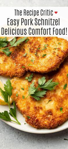 Pork Recipes For Dinner, Entree Recipes, New Recipes, Cooking Recipes, Recipies, Schnitzel Recipes, Pork Schnitzel, Pork Ribs, Pork Chops