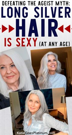 Does long silver hair over 40 or over 50 make you look older? Are you too young to have long silver hair in your 30s? Absolutely not! Check out these beautiful images of women of all ages sporting long naturally silver hair for inspiration! Long Silver Hair, Long Gray Hair, Damp Hair Styles, Short Hair Styles, Grey Hair And Glasses, Grey Hair Transformation, Grey Hair Inspiration, Transition To Gray Hair, Curly Girl Method