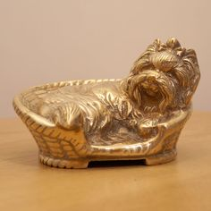 Solid Brass Yorkie Dog  in the basket || Vintage Statue / Figurine / Statue