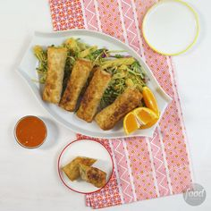 Recipe of the Day: Chicken Egg Rolls with Broccoli Slaw Before you reach for the phone — again — to dial up your favorite takeout restaurant, check out this recipe. Thanks to a precooked rotisserie chicken, you can have homemade egg rolls in only 40 minutes. You'll swear you got them from a to-go box, and no one has to know they're much healthier.
